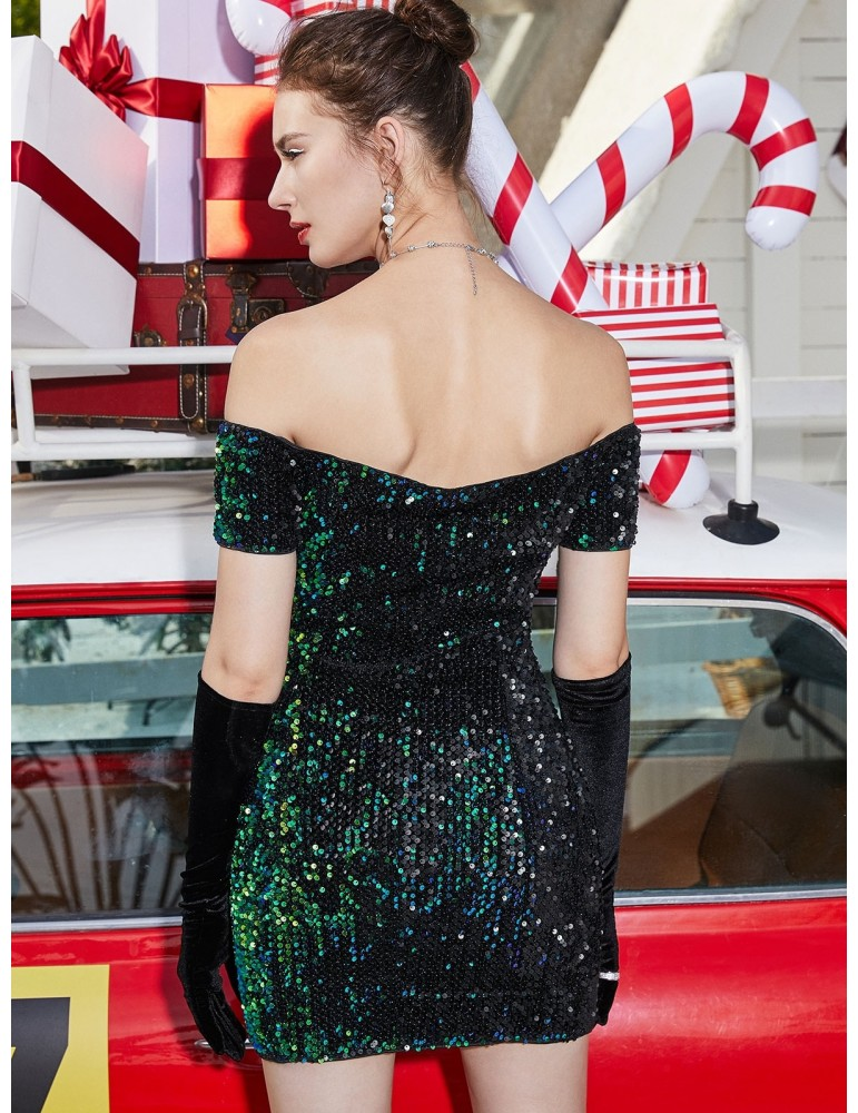 Sequined Glitter Off Shoulder Bodycon Dress - Greenish Blue Xl