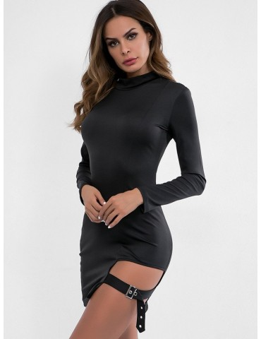 Belt Embellished Cut Out Bodycon Dress - Black M