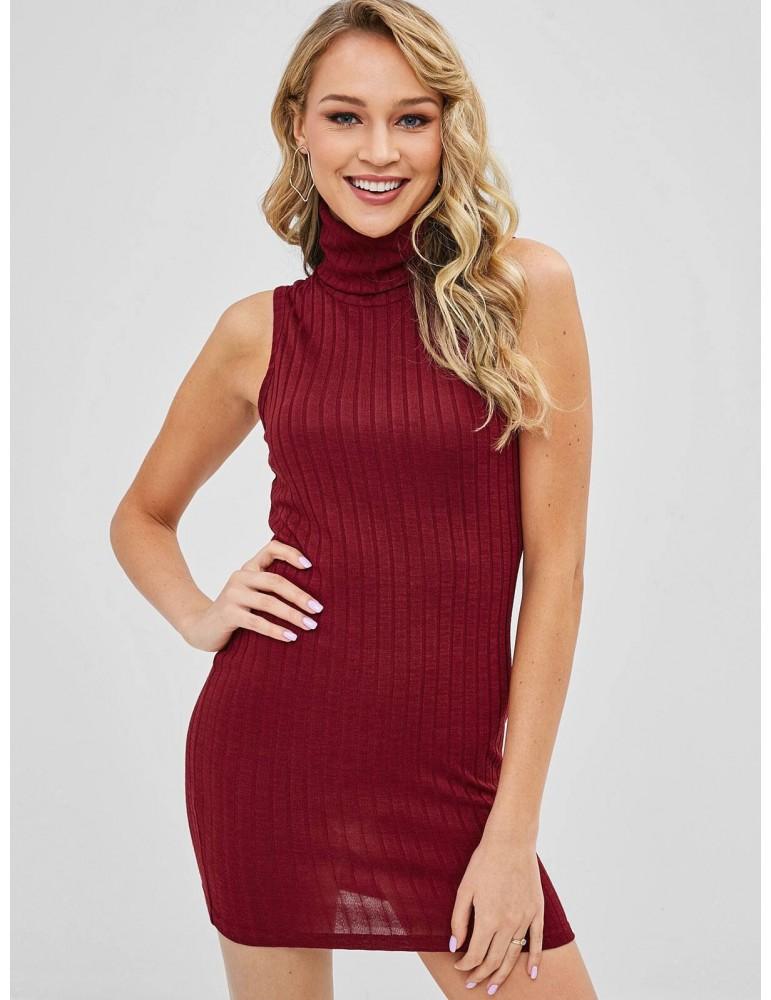 Turtleneck Bodycon Knit Short Dress - Red Wine L