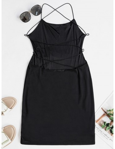 Backless Criss Cross Bodycon Cami Dress - Black Xl