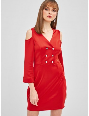 Buttons Cold Shoulder Fitted Dress - Red S