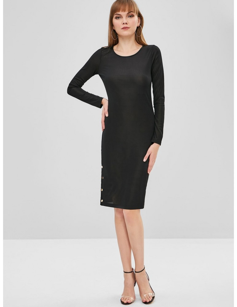 Long Sleeve Bodycon Tight Dress - Black Xl
