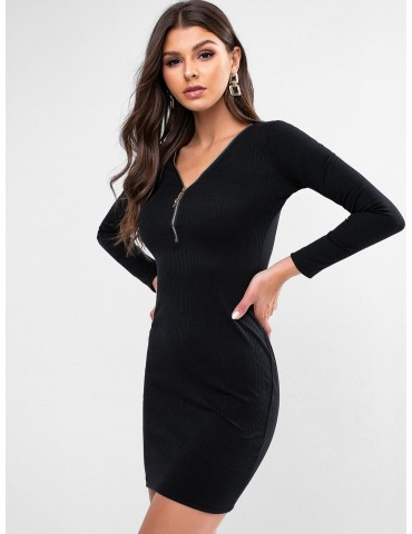 Zipper Front Plunging Ribbed Bodycon Dress - Black Xl