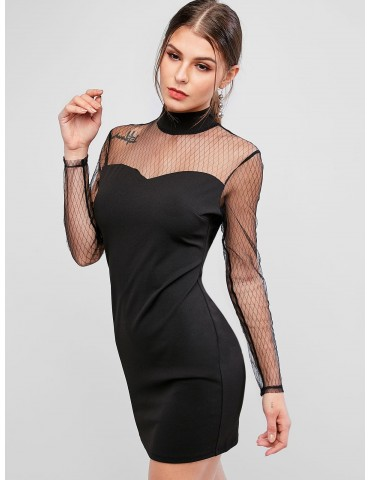 Mock Neck Mesh Yoke Bodycon Dress - Black S