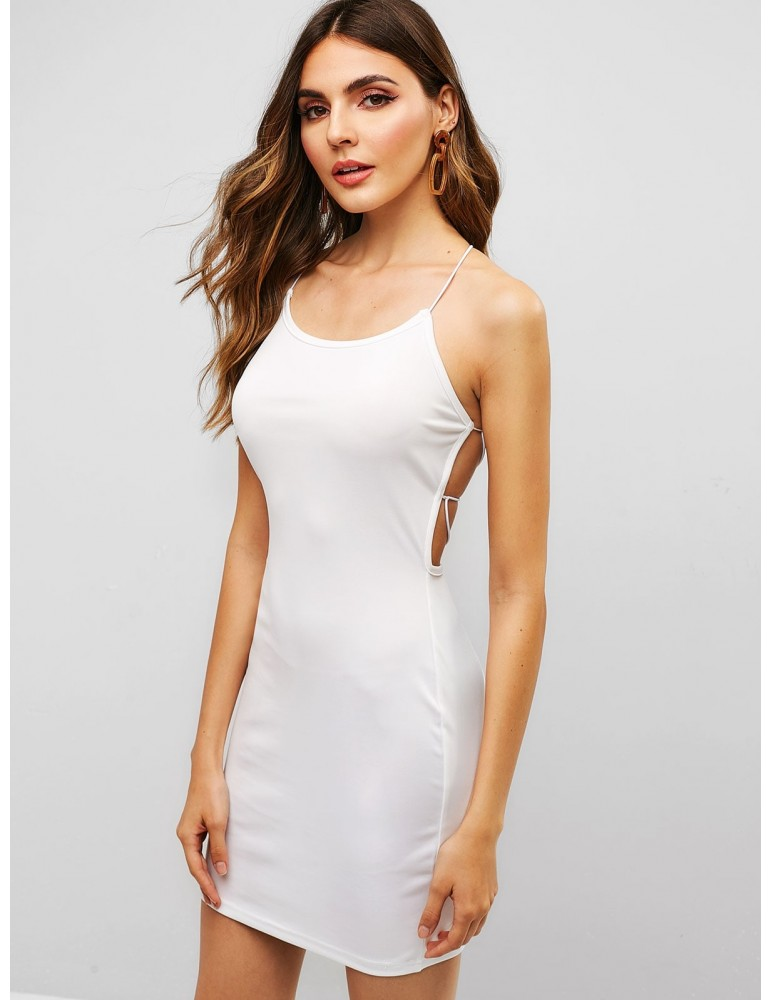 Open Back Lace Up Bodycon Dress - White S
