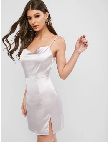 Satin Cami Slit Mini Dress - Silver S