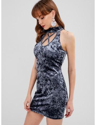 Velvet Mock Neck Criss Cross Dress - Mist Blue S