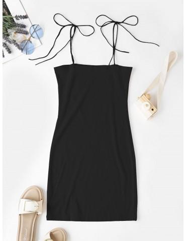 Tie Shoulder Ribbed Slit Cami Dress - Black S