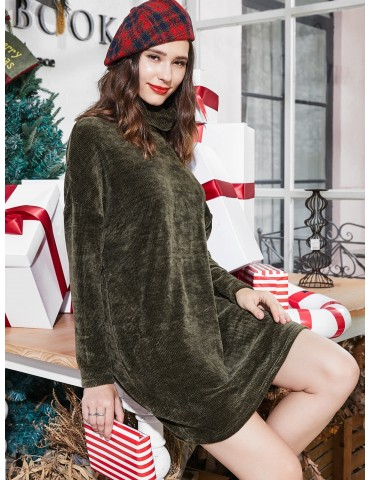 Turtleneck Chenille Knit Christmas Mini Sweater Dress - Dark Forest Green M