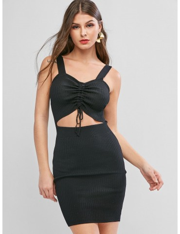 Cinched Cutout Ribbed Knit Sweetheart Neck Dress - Black Xl