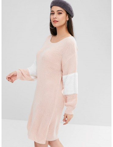 Contrast Faux Fur Sweater Dress - Light Pink S