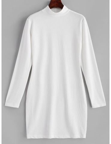 Ribbed Long Sleeve Bodycon Mini Dress - White L