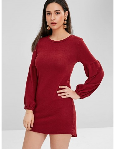 Balloon Sleeve Mini Sweater Dress - Red Wine M