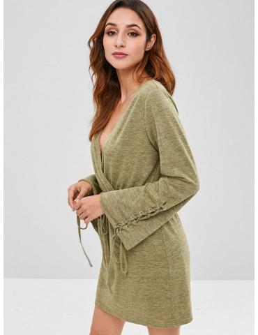 Lace Up Surplice Knitted Dress - Fern Green Xl
