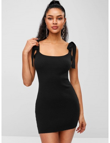 Tied Straps Sweater Bodycon Dress - Black S