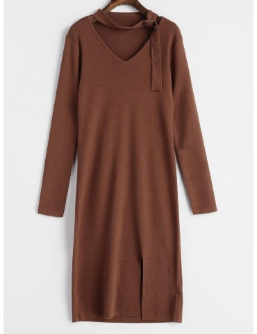 Buckled Choker Sweater Dress - Brown
