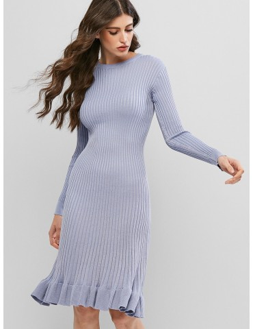 Crew Neck Long Sleeve Ruffled Hem Sweater Dress - Blue Gray