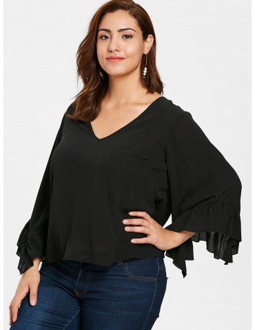 Plus Size Ruffled Bell Sleeve Blouse - Black 3x