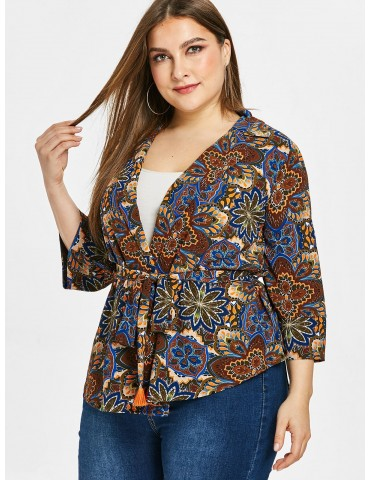 Flower Print Plus Size Lapel Wrap Blouse - Multi 1x
