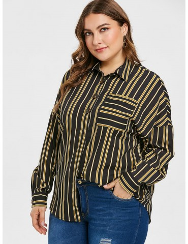 Plus Size Striped Pocket Half Button Blouse - Black 2x