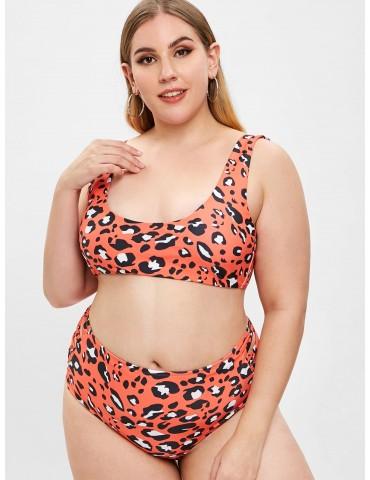 Leopard Crisscross Plus Size Tank Bikini Set - Multi-a 3x