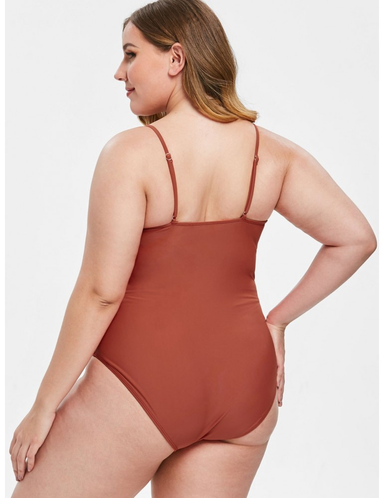 Plus Size Knot One-piece Swimsuit - Chestnut Red 1x