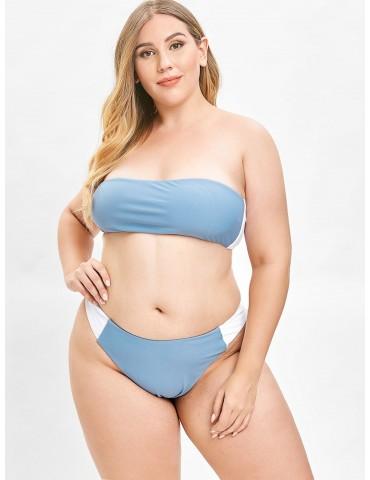 Color Block Bandeau Plus Size Bikini Set - Blue Koi L