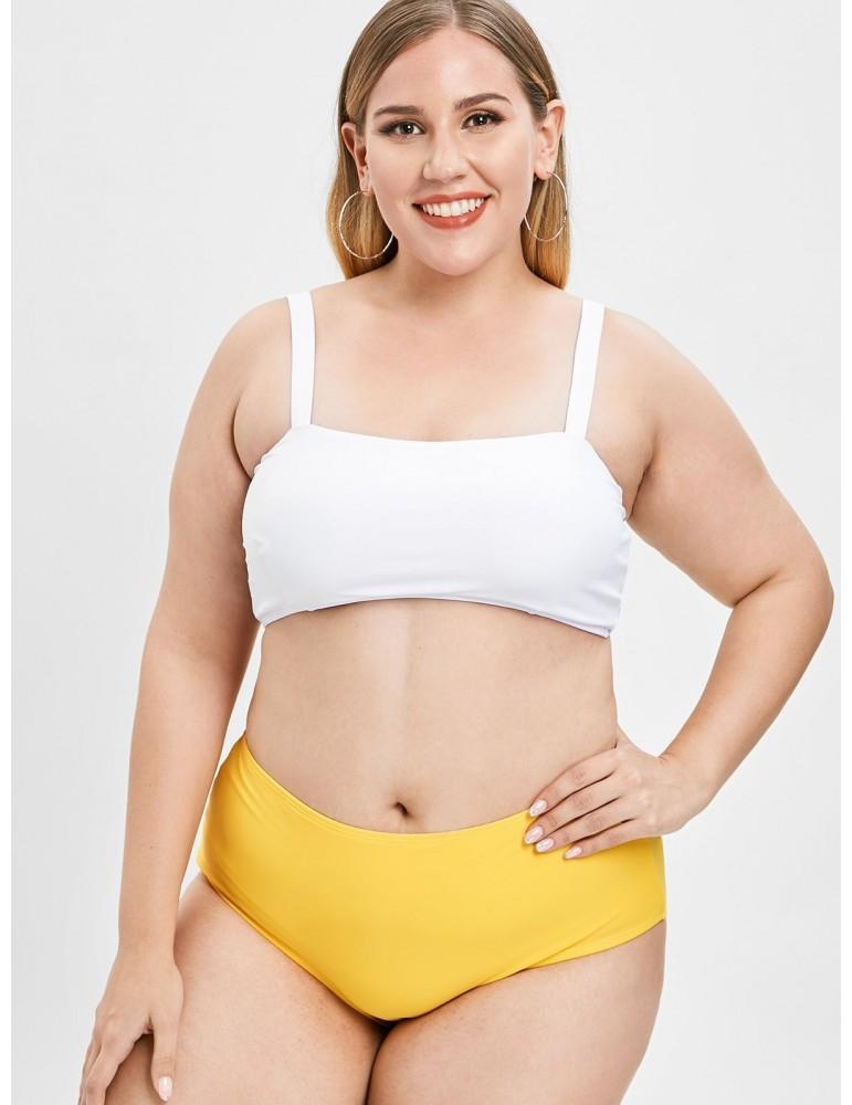 Padded Plus Size High Waisted Swimwear Set - Bee Yellow L