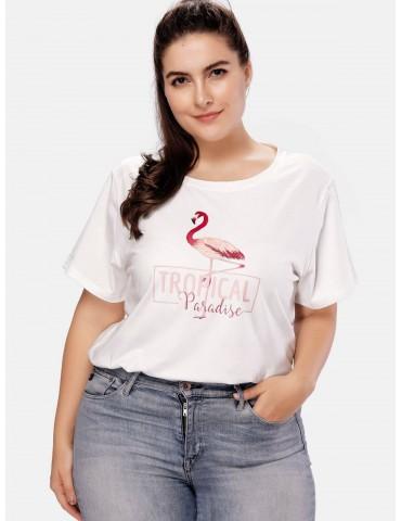 Flamingo Graphic Plus Size T-shirt - White 4x