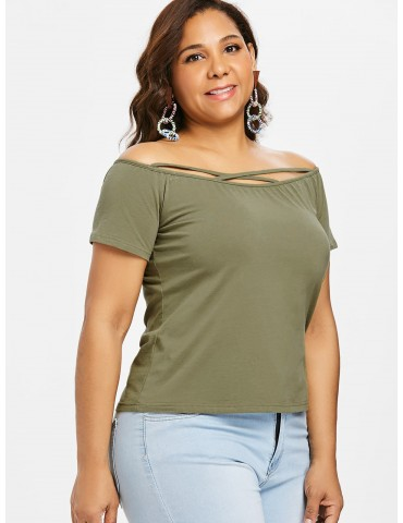 Cross Strap Off Shoulder Plus Size Tee - Army Green 4x