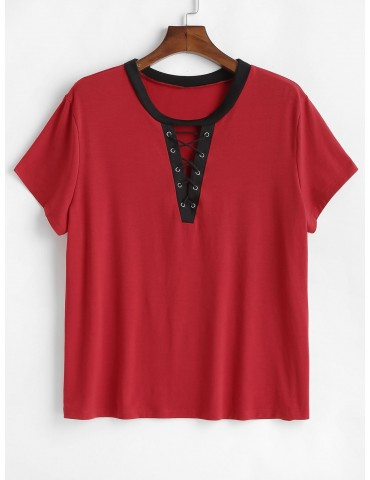 Lace-up Plus Size Contrast Trim Tee - Red 1x