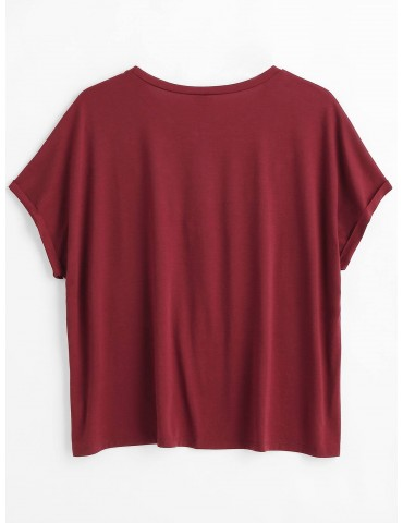 Floral Embroidered Plus Size Tee - Red Wine 2x