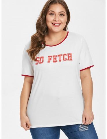 Contrasting Trim Graphic Plus Size T-shirt - White 3x