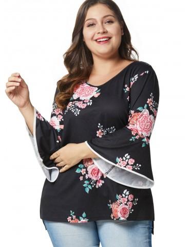 Flare Sleeve Slit Plus Size Floral Tee - Black 3x