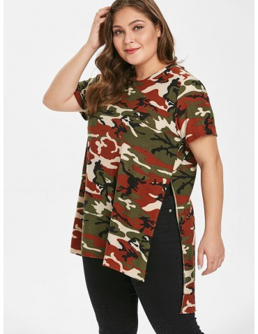 Camo Ripped Side Slit Plus Size T-shirt - Acu Camouflage 1x