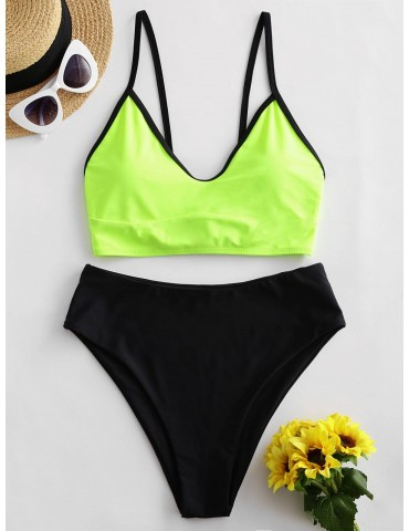Colorblock Lace Up High Waisted Tankini Swimsuit - Green Yellow Xl
