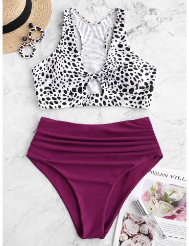 Dalmatian Print Ruched Racerback Tankini Swimsuit - Plum Velvet M