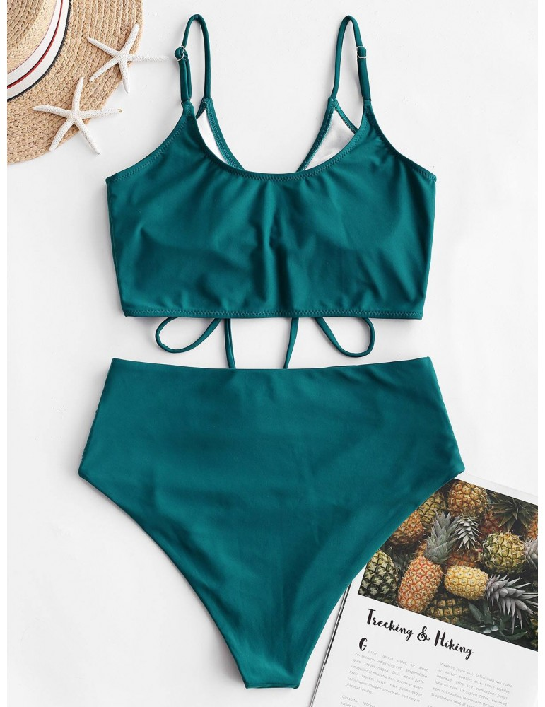 Cinched Ruched Tankini Swimsuit - Peacock Blue S