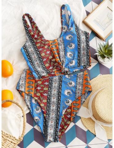 Bohemian Printed Knot Tankini Swimsuit - Dodger Blue M