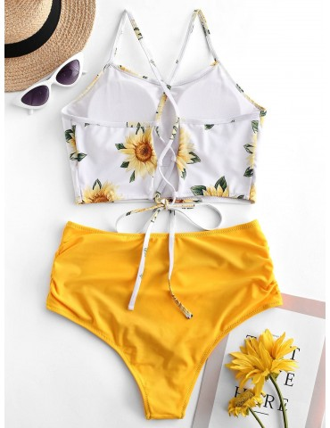 Crisscross Ruched Sunflower Tankini Set - Bright Yellow M