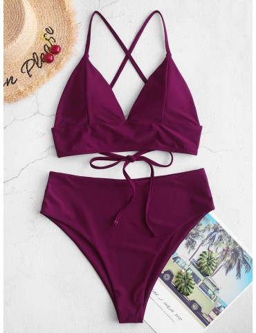 Criss Cross High Cut Plunge Tankini Swimsuit - Plum Pie Xl