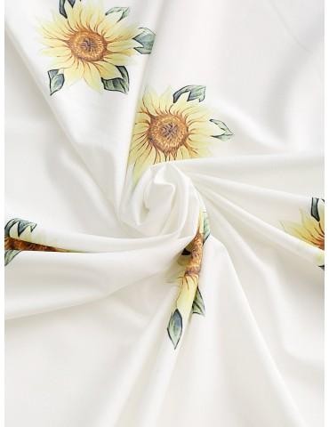 Sunflower Round Beach Throw - White