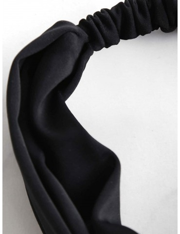 Elastic Bowknot Beach Headband - Black