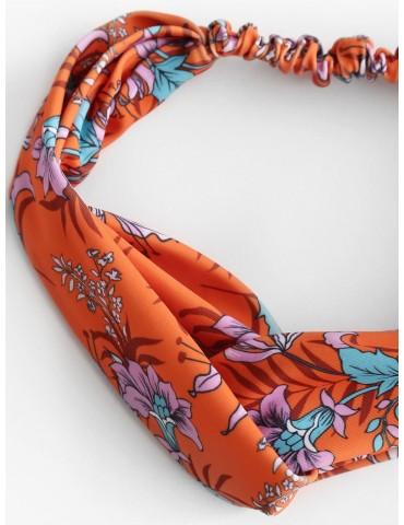 Flower Print Cross Twisted Beach Headband - Multi-a