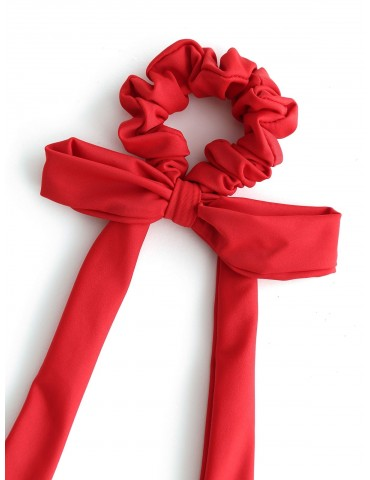 Elastic Solid Bowknot Hair Scrunchie - Lava Red