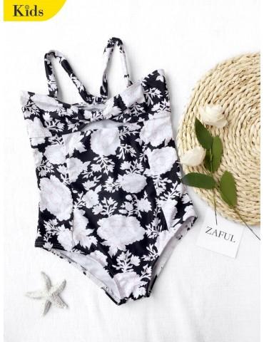 Back Tied Cut Out Floral Kid Swimwear - Black 4t