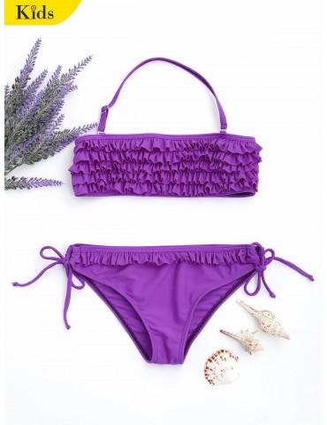 Ruffles Tiered Kids String Bikini - Purple 5t