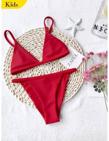 Girls Kids String Bikini Set - Red 5t