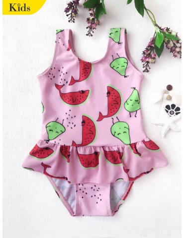 Pear Watermelon Print One-piece Swimsuit - Pink 4t