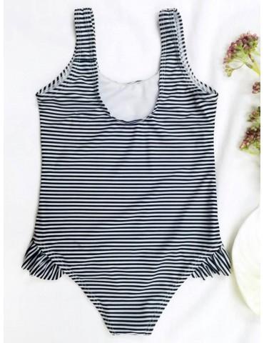 Back Low Cut Striped Ruffled Kid Swimsuit - Stripe 5t